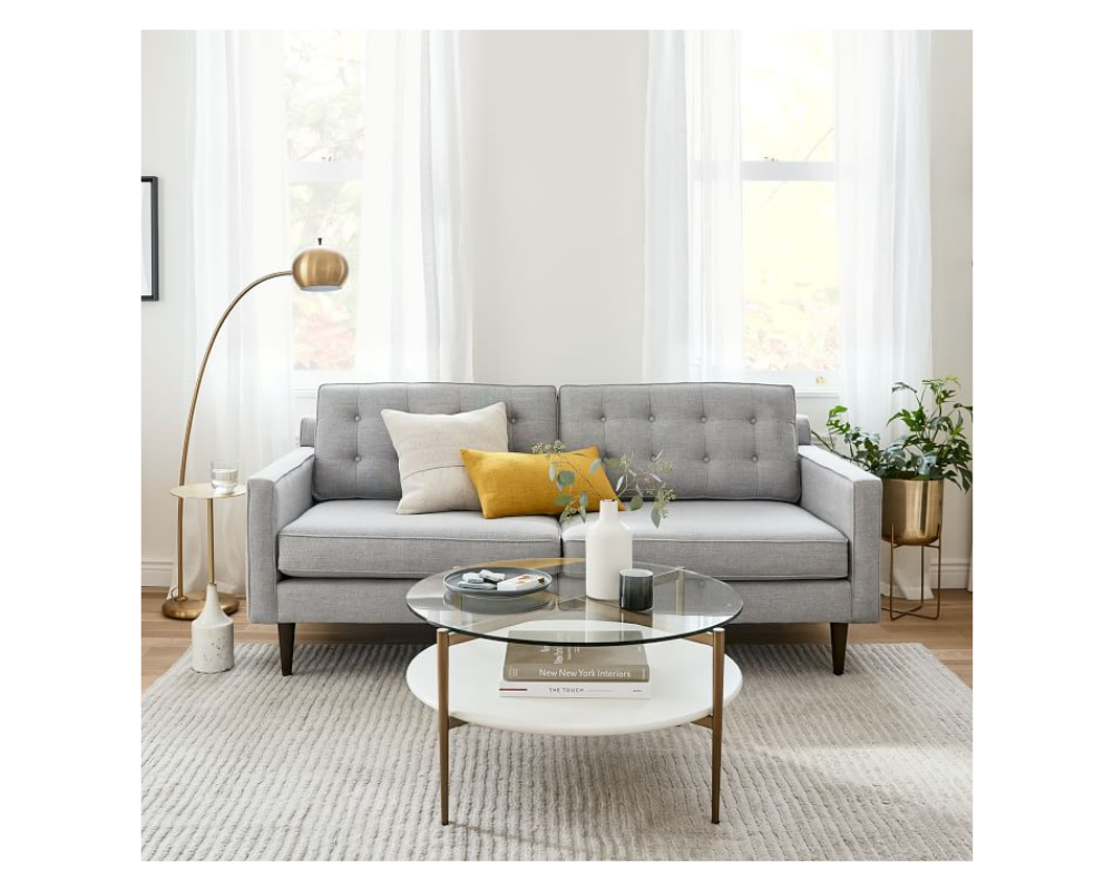 cute small couch gray